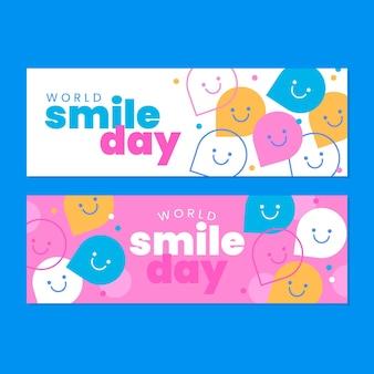 Zestaw poziomych banerów płaski światowy dzień uśmiechu