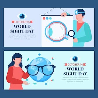 Zestaw poziomych banerów płaski światowy dzień wzroku