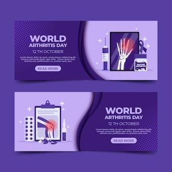 Zestaw poziomych banerów płaski światowy dzień zapalenia stawów