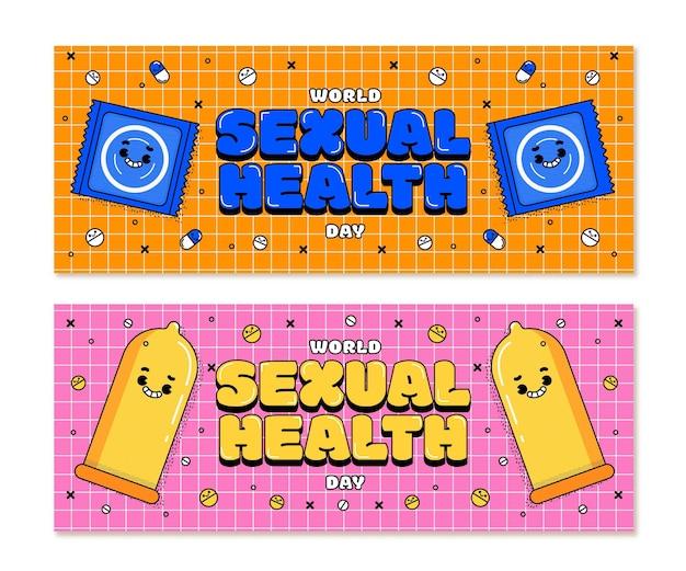 Zestaw poziomych banerów płaski światowy dzień zdrowia seksualnego