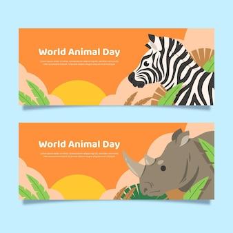 Zestaw poziomych banerów płaski światowy dzień zwierząt
