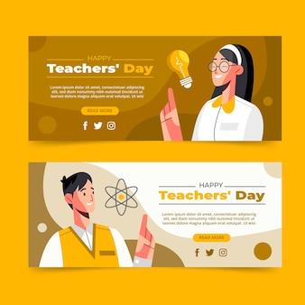Zestaw poziomych banerów płaskich nauczycieli
