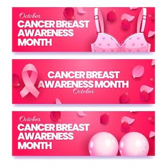Zestaw poziomych banerów płaskiego miesiąca świadomości raka piersi