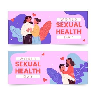 Zestaw poziomych banerów światowego dnia zdrowia seksualnego