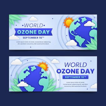 Zestaw poziomych banerów w stylu papierowego światowego dnia ozonu