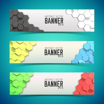 Zestaw poziomych banerów z sześciokątami