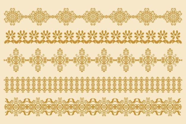 Zestaw poziomych ozdób w starym stylu adamaszkowych wzorów obramowania do dekoracji vector