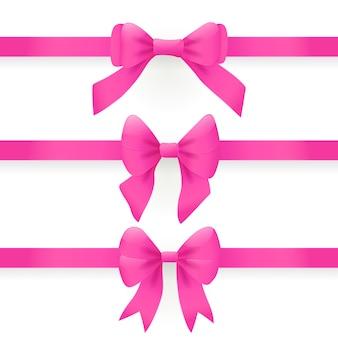 Zestaw poziomych różowych wstążek z kokardkami