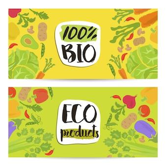 Zestaw poziomych ulotek produktów ekologicznych