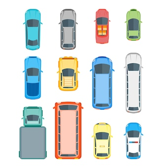 Zestaw pozycji widoku z góry różnych samochodów. styl płaski.