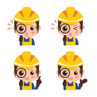 Zestaw pracownik budowlany patrząc przez szkło powiększające. kreskówka bezpieczeństwa przemysłowego. ilustracji wektorowych