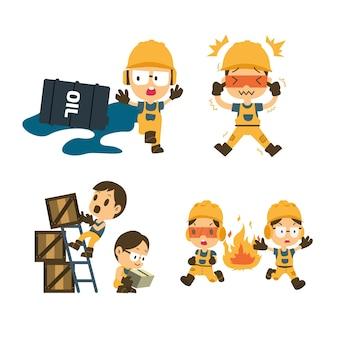 Zestaw pracownik budowlany, praca na wypadek, bezpieczeństwo przede wszystkim, zdrowie i bezpieczeństwo