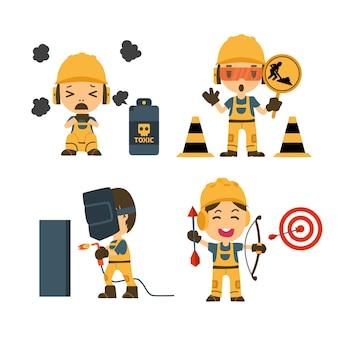 Zestaw Pracownik Budowlany, Praca Na Wypadek, Bezpieczeństwo Przede Wszystkim, Zdrowie I Bezpieczeństwo Premium Wektorów