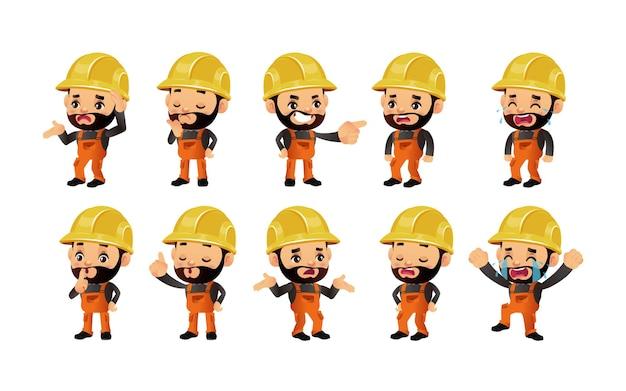 Zestaw pracownik budowlany z różnymi emocjami
