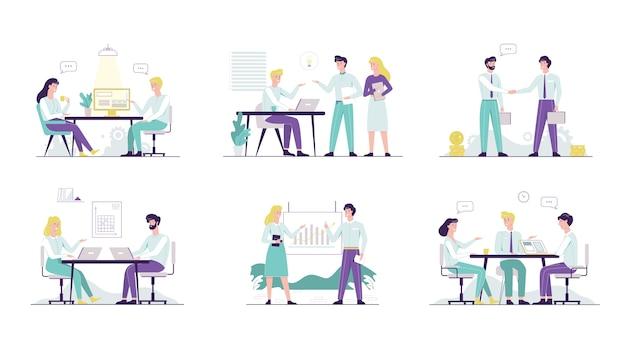 Zestaw pracownika biurowego. kolekcja ludzi biznesu