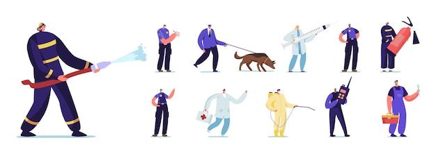 Zestaw pracowników awaryjnych osób. mężczyzna i kobieta znaków policjant z psem, strażakiem, lekarzem i hydraulikiem z zwalczania szkodników na białym tle. ilustracja kreskówka wektor