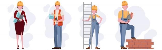 Zestaw pracowników budowlanych