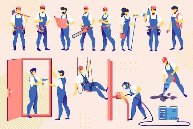Zestaw pracowników. inżynierowie budowlani w narzędziach szatowych