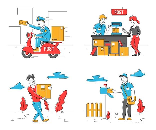 Zestaw pracowników poczty i klientów