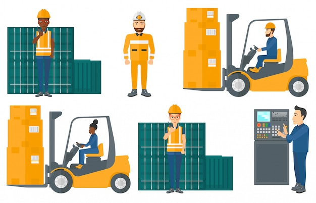 Zestaw pracowników przemysłowych.