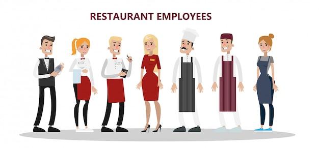 Zestaw pracowników restauracji. szef kuchni, kierownik i kelner