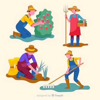 Zestaw pracowników rolnych płaska konstrukcja