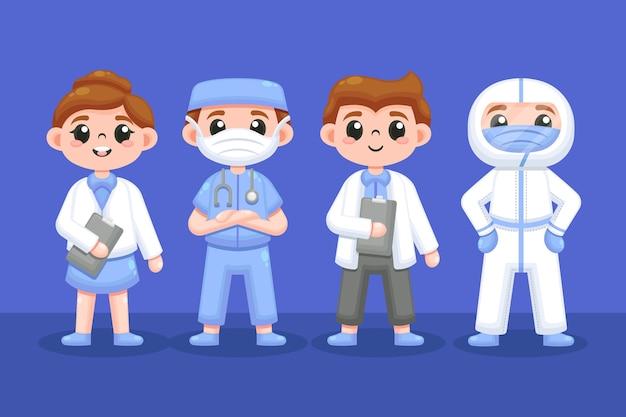 Zestaw pracowników służby zdrowia