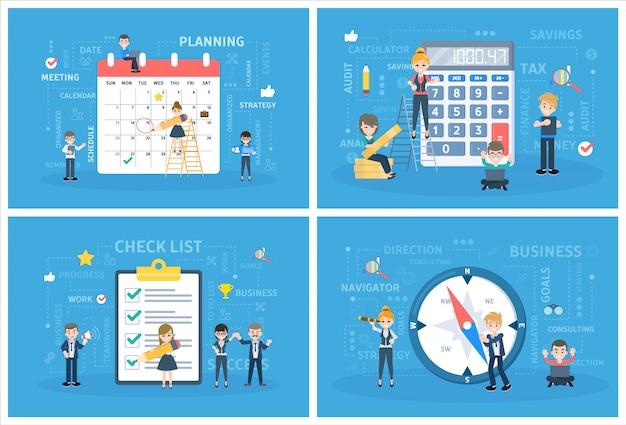 Zestaw pracy zespołowej firmy. zbiór osób pracuje w zespole, wykonuje operacje finansowe na kalkulatorze i planuje harmonogram. pracownik z listą kontrolną i kompasem. burza mózgów i strategia. płaskie ilustracji wektorowych