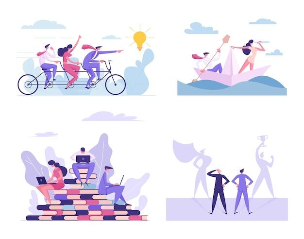 Zestaw pracy zespołowej i współpracy ludzi biznesu