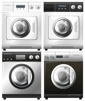 Zestaw pralek w różnych projektach ilustracji