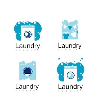 Zestaw pralni logo wektor wzór