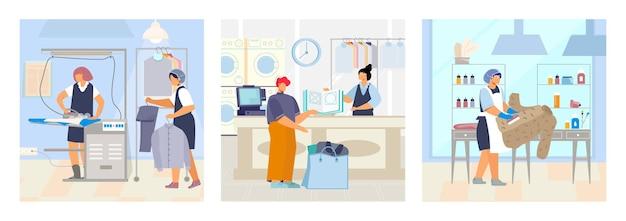 Zestaw pralni składający się z trzech kwadratowych kompozycji z płaskimi postaciami praczki i ilustracją wnętrz pralni