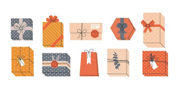 Zestaw prezentów i prezentów na boże narodzenie lub święta ilustracji wektorowych w vintage retro color
