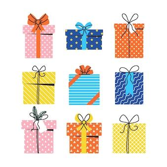Zestaw prezentów i prezentów na boże narodzenie urodziny lub święta wektor ilustracja na białym tle