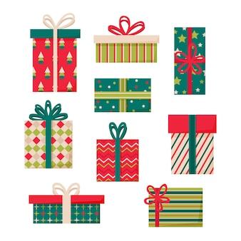 Zestaw prezentów świątecznych płaska konstrukcja