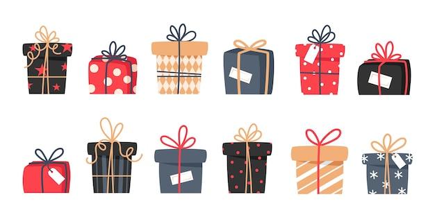 Zestaw prezentów świątecznych, prezentów noworocznych, pudełek ze wstążkami