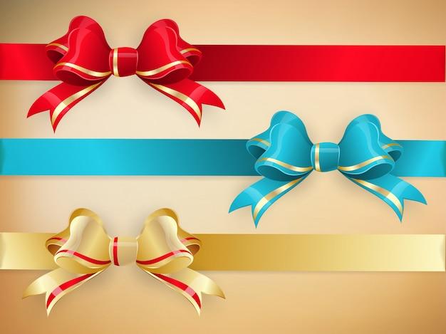 Zestaw prezentowych kokardek ze wstążkami.