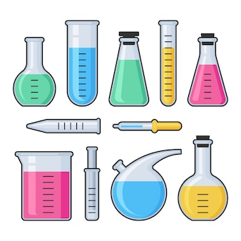 Zestaw probówek szklanych i kolby z laboratorium chemii