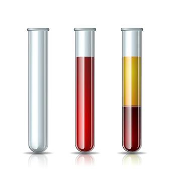 Zestaw probówek szklanych pusta, wypełniona krwią i krwią frakcjonowaną in vitro, osocze i warstwy czerwonych krwinek. szkło chemiczne w realistycznym stylu. ilustracja