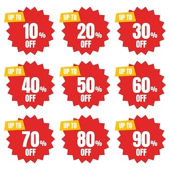 Zestaw procent zniżki znak rabatu baner lub plakat oferta specjalna cena znaki