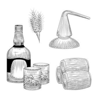 Zestaw procesu produkcji whisky w ręcznie rysowane stylu. butelka whisky, szkło, beczka, pszenica, destylacja.