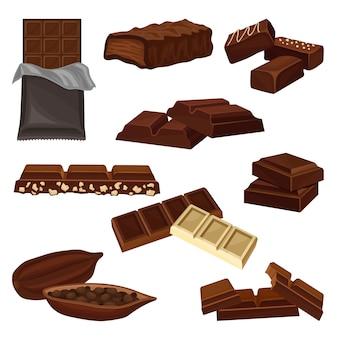 Zestaw produktów czekoladowych. cukierki, kawałki batoników i ziarna kakaowca pełne nasion. słodkie jedzenie. elementy plakatu lub transparentu sklepu ze słodyczami