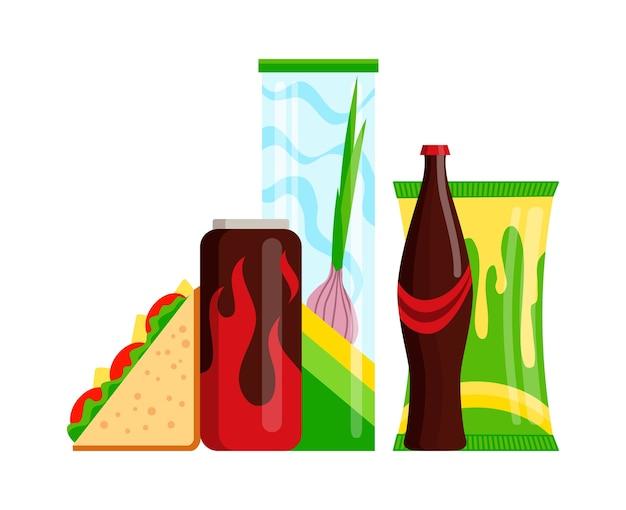 Zestaw produktów do przekąsek. fast food przekąski napoje, soki i kanapki na białym tle. klasyczne żywienie fast food w stylu płaski. przekąski z menu restauracji.