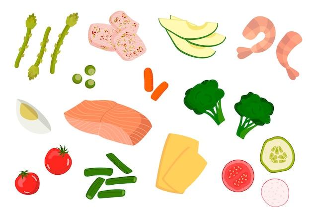 Zestaw produktów do zdrowego odżywiania warzywa ryby ser awokado brokuły pojedyncze elementy