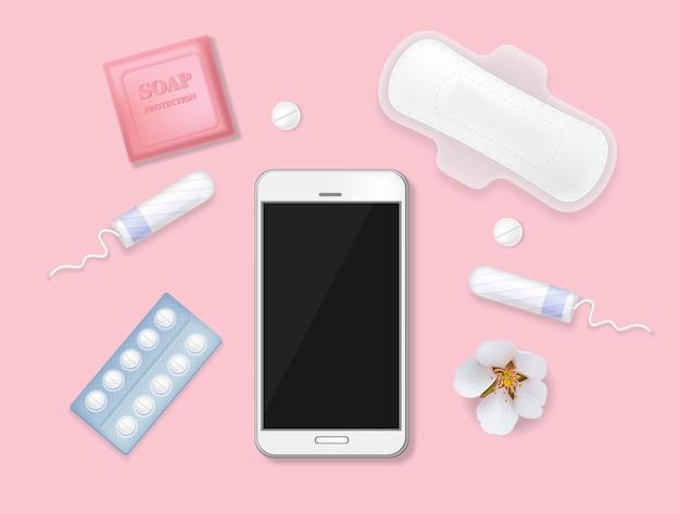 Zestaw produktów higienicznych dla kobiet w cyklu menstruacyjnym. telefon z kalendarzem, podpaską, tamponami, pigułkami, kwiatami, mydłem