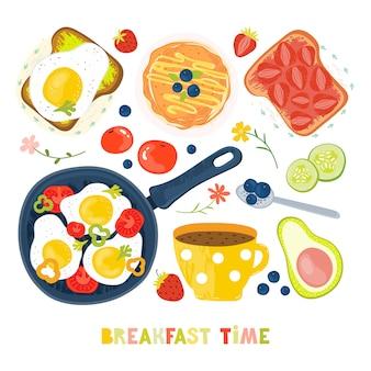 Zestaw produktów i dań przygotowanych na śniadanie. tosty, jajka sadzone, warzywa, dżem, jagody, kawa, owoce, warzywa, awokado, truskawki.