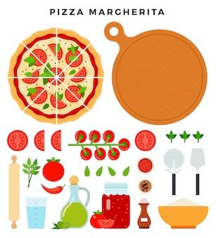 Zestaw produktów i narzędzi do przygotowywania pizzy na białym tle