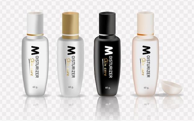 Zestaw produktów kosmetycznych na białym tle. odbiór opakowań na kremy, zupy, pianki, szampon