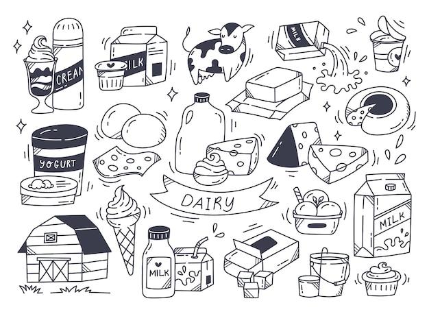 Zestaw produktów mlecznych w ilustracji stylu bazgroły