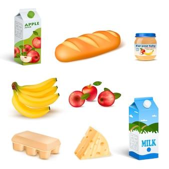 Zestaw produktów na białym tle żywności w supermarkecie